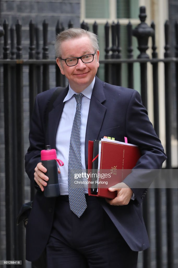 Secretary of State for Environment, Food and Rural Affairs Michael Gove arrives for the weekly cabinet meeting at 10 Downing Street on March 13, 2018 in London, England.