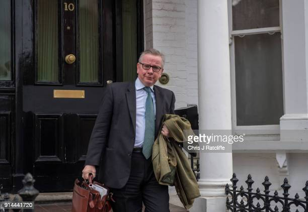 Secretary of State for Environment Michael Gove leaves his home on February 5 2018 in London England Following claims of disunity within the...