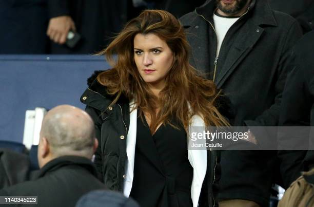 Secretary of State for Equality between Women and Men Marlene Schiappa attends the French Cup semi-final between Paris Saint-Germain and FC Nantes at...