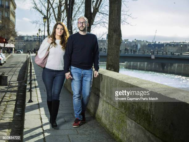 Secretary of state for equality Marlene Schiappa is photographed with her husband Cedric Bruguiere are photographed for Paris Match on March 3, 2018...