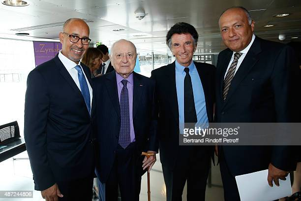 Secretary of State for European Affairs Harlem Desir, Pierre Berge, President of the 'Institut du Monde Arabe' Jack Lang and Foreign Minister of...