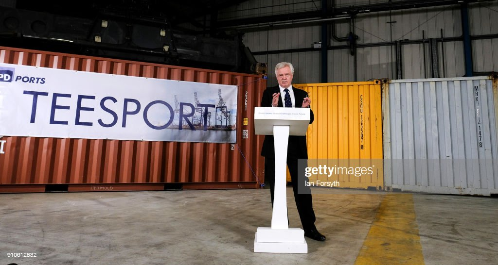 Secretary of State for Exiting the EU David Davis delivers a speech during a visit to PD Ports at Teesport outlining the UK's ambitions for an implementation period after Brexit on January 26, 2018 in Teesside, England. A key part to the Brexit deal will be the time limit period for trade negotiations that follows Brexit but before the final relationship begins. Mr Davis outlined that the UK wants to be free to negotiate and agree trade deals with other countries during this period. The UK is due to leave the EU on March 29, 2019.