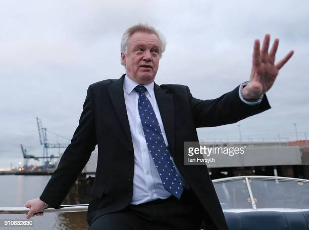 Secretary of State for Exiting the EU David Davis takes a trip along the River Tees after he delivered a speech during a visit to PD Ports at...