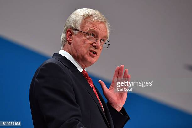 Secretary of State for Exiting the European Union David Davis delivers a speech about Brexit on the first day of the Conservative Party Conference...