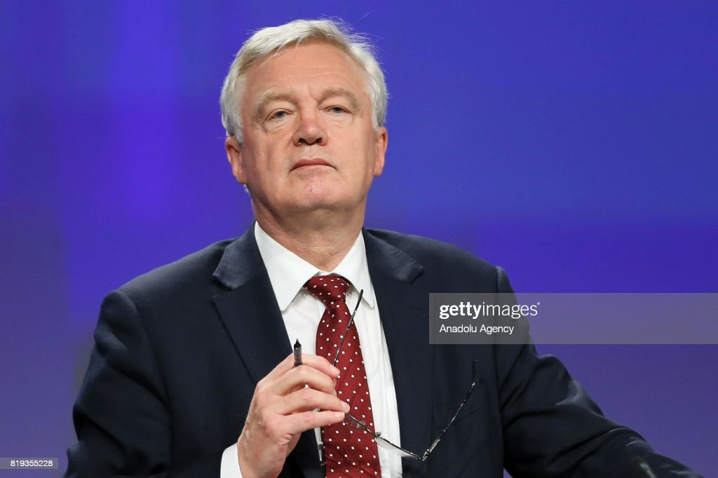 Secretary of State for Exiting the European Union, David Davis and Chief negotiator for the European Union, Michel Barnier (not seen) hold a joint press conference during the second round of the Brexit negotiations in Brussels, Belgium on July 20, 2017.