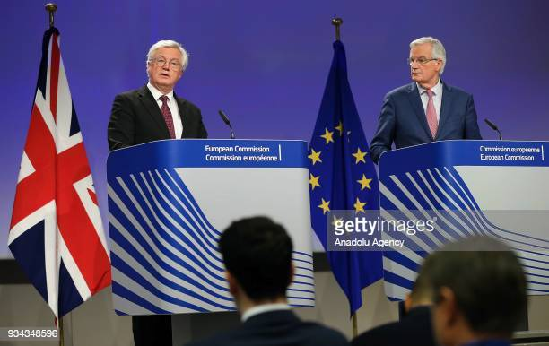 Secretary of State for Exiting the European Union David Davis and European Union's chief Brexit negotiator Michel Barnier hold a joint press...