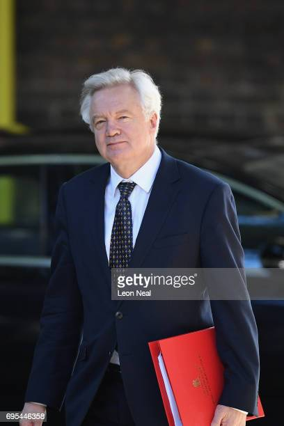 Secretary of State for Exiting the European Union David Davis arrives at Downing Street on June 13 2017 in London England The Prime Minister has...