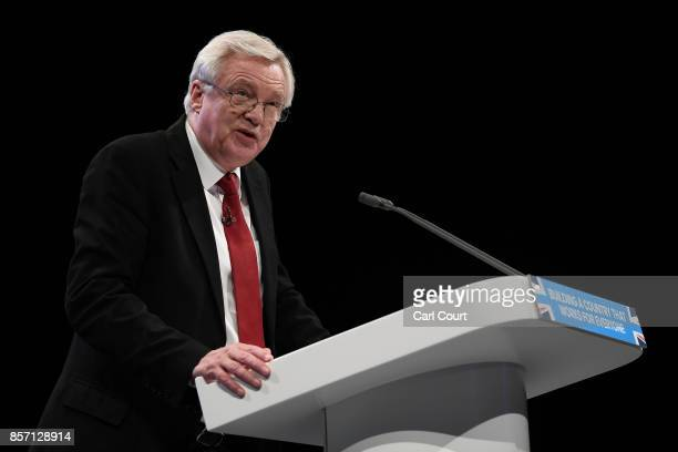 Secretary of State for Exiting the European Union David Davis delivers his keynote speech on day three of the Conservative Party Conference at...