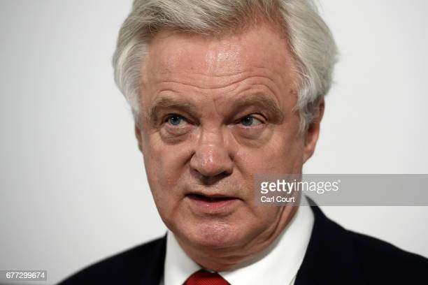 Secretary of State for Exiting the European Union David Davis speaks at campaign event ahead of the general election on June 8th on May 3 2017 in...