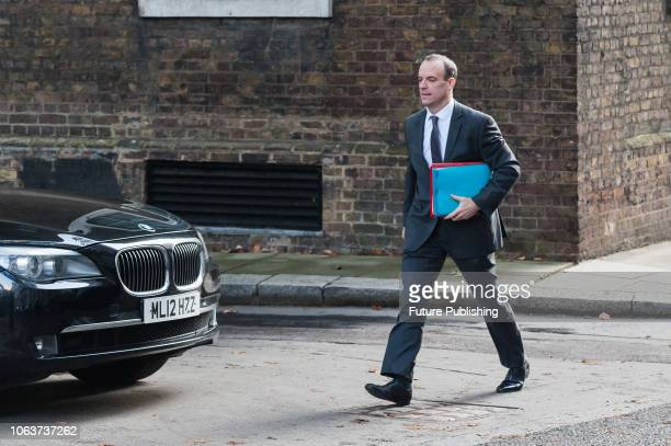 Secretary of State for Exiting the European Union Dominic Raab arrives for a Cabinet meeting at 10 Downing Street in central London held to discuss...