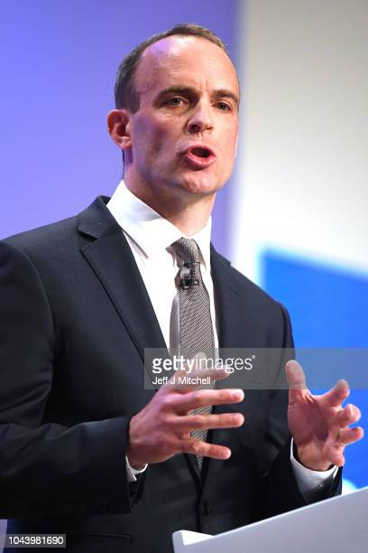 Secretary of State for Exiting the European Union Dominic Raab speaks during day two of the annual Conservative Party Conference on October 1 2018 in...