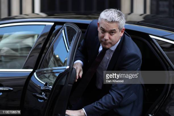 Secretary of State for Exiting the European Union Stephen Barclay arrives at Downing Street on March 25 2019 in London England British Prime Minister...