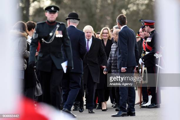 Secretary of State for Foreign and Commonwealth Affairs Boris Johnson arrives before British Prime Minister Theresa May and French President Emmanuel...