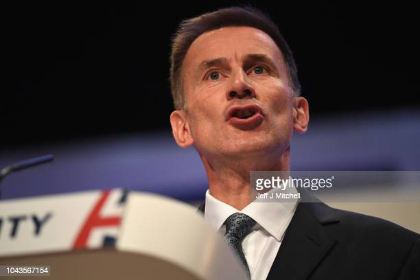 Secretary of State for Foreign and Commonwealth Affairs Jeremy Hunt speaks during the annual Conservative Party Conference on September 30 2018 in...