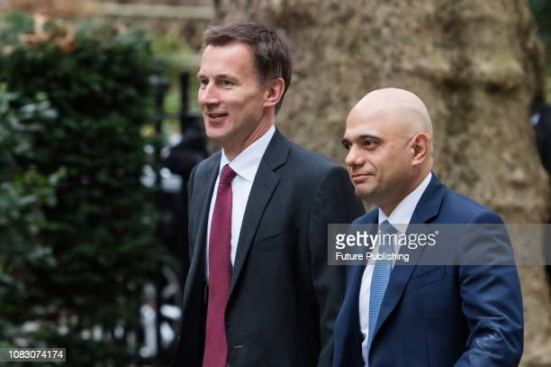 Secretary of State for Foreign and Commonwealth Affairs Jeremy Hunt and Secretary of State for the Home Department Sajid Javid arrive for a weekly...