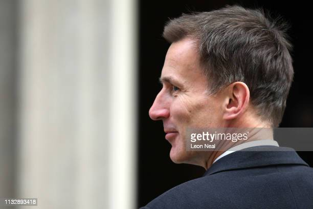 Secretary of State for Foreign and Commonwealth Affairs, Jeremy Hunt arrives at Downing Street on March 26, 2019 in London, England. The cabinet met...