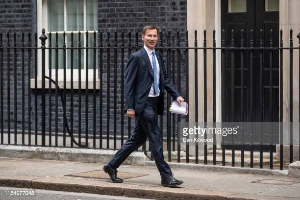 Secretary of State for Foreign and Commonwealth Affairs Jeremy Hunt arrives for the weekly Cabinet Meeting on July 9, 2019 in London, England. The...