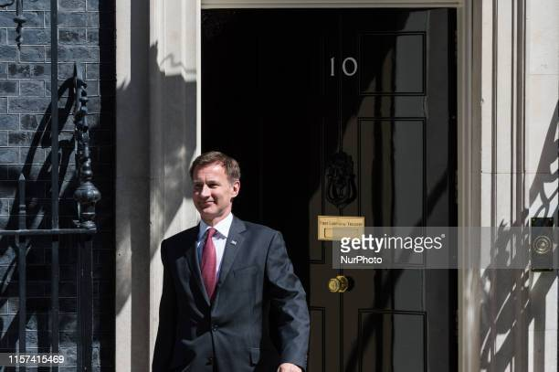 Secretary of State for Foreign and Commonwealth Affairs Jeremy Hunt leaves 10 Downing Street after Theresa May's final cabinet meeting as Prime...