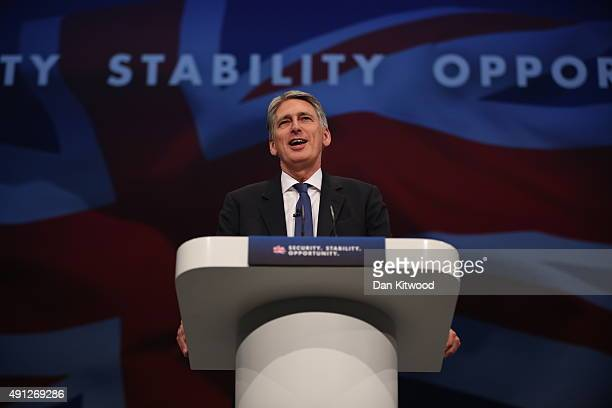 Secretary of State for Foreign and Commonwealth Affairs Philip Hammond speaks during day one of the Conservative Party Conference on October 4 2015...