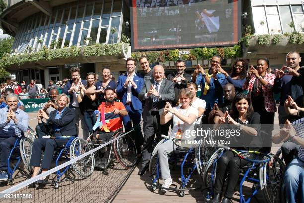 Secretary of State for Handicapped Persons Sophie Cluzel Grand Corps Malade aka Fabien Marsaud President of French Tennis Federation Bernard...