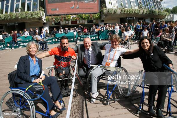 Secretary of State for Handicapped Persons, Sophie Cluzel, President of French Tennis Federation Bernard Giudicelli and Mayor of Paris, Anne Hidalgo...