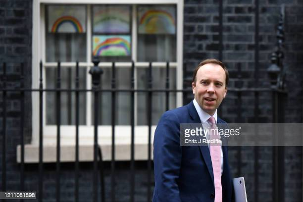 Secretary of State for Health and Social Care Matt Hancock departs from 10 Downing Street as Prime Minister Boris Johnson returns to work following...
