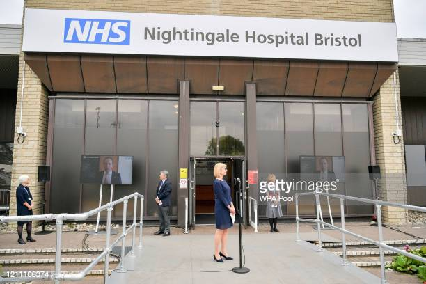 Secretary of State for Health and Social Care Matt Hancock MP speaks via video link during the formal opening of the Bristol Nightingale Hospital on...