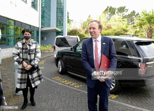 Secretary of State for Health and Social Care, Matt Hancock, on a visit to the Royal Cornwall Hospital, accompanied by Gina Coladangelo a...