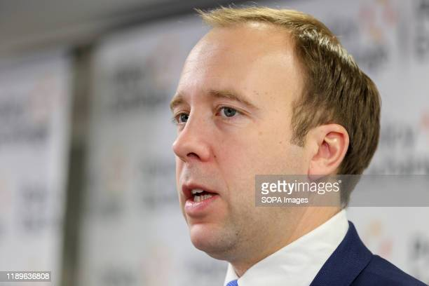 Secretary of State for Health and Social Care, Matt Hancock speaks during the Policy Exchange outlining Tory plans on the National Health Service,...