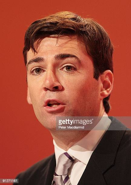Secretary of State for Health Andy Burnham speaks at the Labour Party Conference on September 30 2009 in Brighton England The Labour Party Conference...