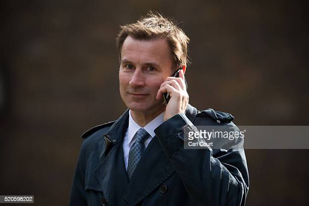 Secretary of State for Health Jeremy Hunt arrives for a cabinet meeting at 10 Downing Street on April 12 2016 in London England Prime Minister David...