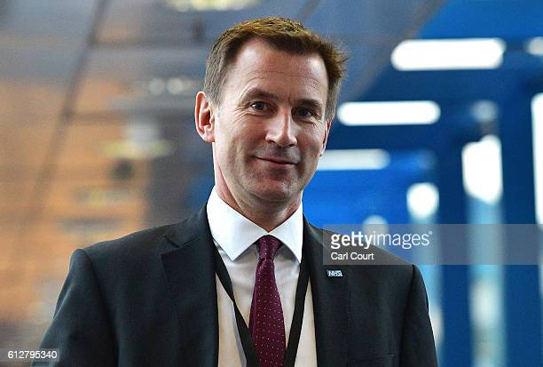 Secretary of State for Health Jeremy Hunt arrives for the fourth day of the Conservative Party Conference 2016 at the ICC Birmingham on October 5...