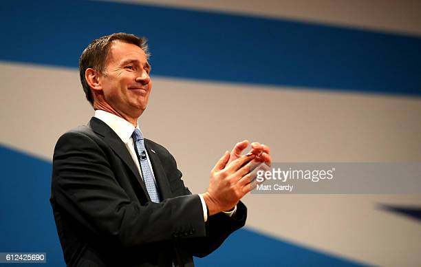 Secretary of State for Health Jeremy Hunt delivers a speech on the third day of the Conservative Party Conference 2016 at the ICC Birmingham on...