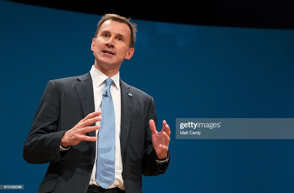 Secretary of State for Health Jeremy Hunt delivers a speech on the third day of the Conservative Party Conference 2016 at the ICC Birmingham on October 4, 2016 in Birmingham, England at the ICC Birmingham on October 4, 2016 in Birmingham, England. Ministers and senior Party members will address delegates throughout the day with a number of speeches discussing 'a society that works for everyone'.