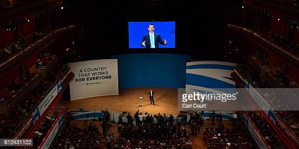 Secretary of State for Health Jeremy Hunt delivers a speech on the third day of the Conservative Party Conference 2016 at the International...