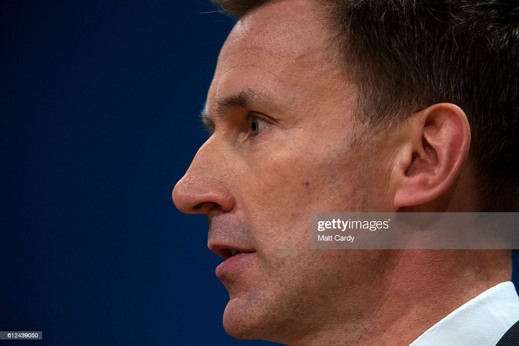 Secretary of State for Health, Jeremy Hunt delivers a speech on the third day of the Conservative Party Conference 2016 at the ICC Birmingham on October 4, 2016 in Birmingham, England at the ICC Birmingham on October 4, 2016 in Birmingham, England. Ministers and senior Party members will address delegates throughout the day with a number of speeches discussing 'a society that works for everyone'.