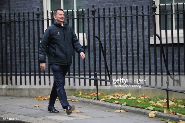 Secretary of State for Health Jeremy Hunt leaves after a cabinet meeting ahead of the Chancellor's annual budget at 10 Downing Street on November 22...