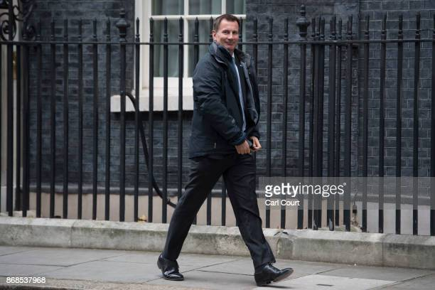 Secretary of State for Health Jeremy Hunt leaves after attending a cabinet meeting in Downing Street on October 31 2017 in London England The Prime...