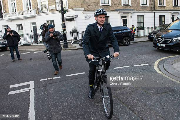 Secretary of State for Health Jeremy Hunt leaves his home on the morning of the second day of Junior Doctors Strikes on April 27 2016 in London...