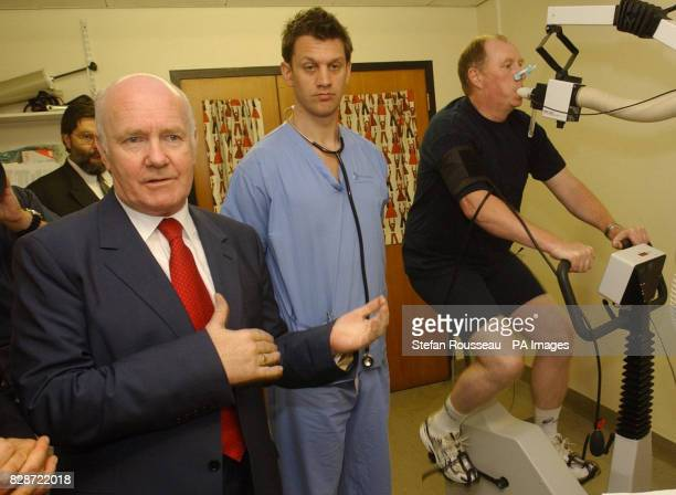 Secretary Of State for Health John Reid meets with Cardiac Physiologist Luke Horsefield and Steve Martin at Great Ormond Street Hospital in London...