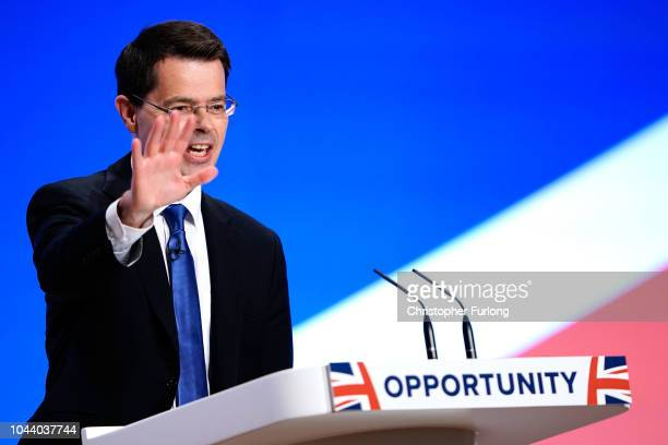 Secretary of State for Housing Communities and Local Government James Brokenshire speaks during the annual Conservative Party Conference on October 1...