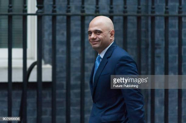 Secretary of State for Housing Communities and Local Government Sajid Javid arrives for a weekly cabinet meeting at 10 Downing Street in central...