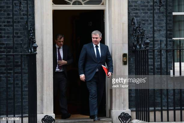 Secretary of State for Immigration Brandon Lewis leaves after a cabinet meeting ahead of the Chancellor's annual budget at 10 Downing Street on...