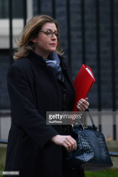 Secretary of State for International Development Penny Mordaunt leaves 10 Downing Street following the weekly Cabinet Meeting London on December 19...