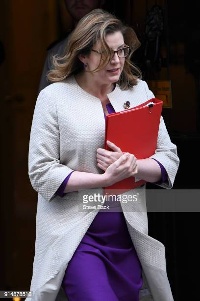 Secretary of State for International Development Penny Mordaunt leaves 10 Downing st after the weekly cabinet meeting on February 06 2018 in London...