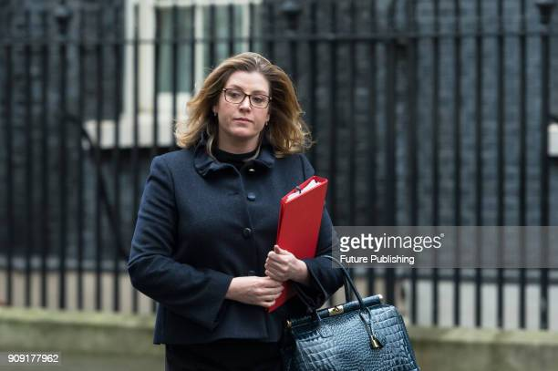 Secretary of State for International Development Penny Mordaunt leaves after a Cabinet meeting at 10 Downing Street in central London January 23 2018...