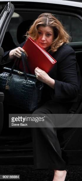 Secretary of State for International Development Penny Mordaunt arriving at Downing Street for the weekly cabinet meeting London England on January...