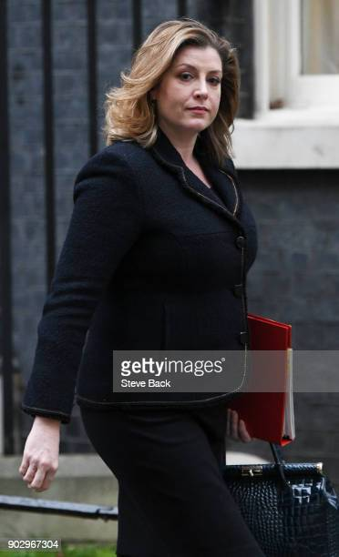 Secretary of State for International Development Penny Mordaunt leaves Downing Street after attending the first Cabinet meeting of the year London on...