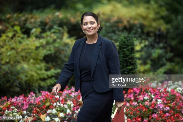 Secretary of State for International Development Priti Patel arrives to attend a cabinet meeting in Downing Street on October 17 2017 in London...