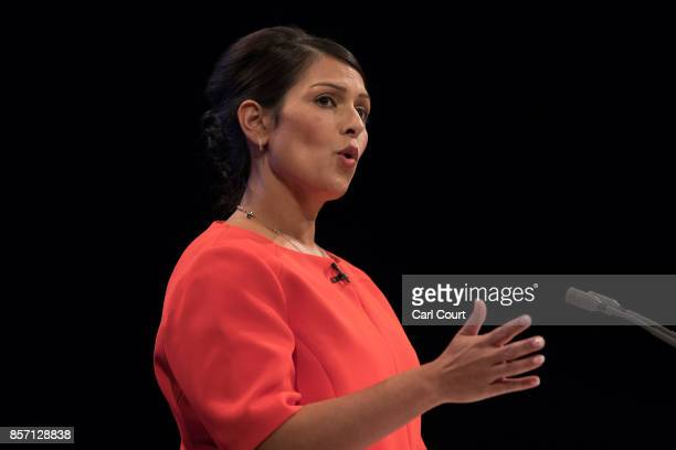 Secretary of State for International Development Priti Patel delivers her keynote speech on day three of the annual Conservative Party conference on...
